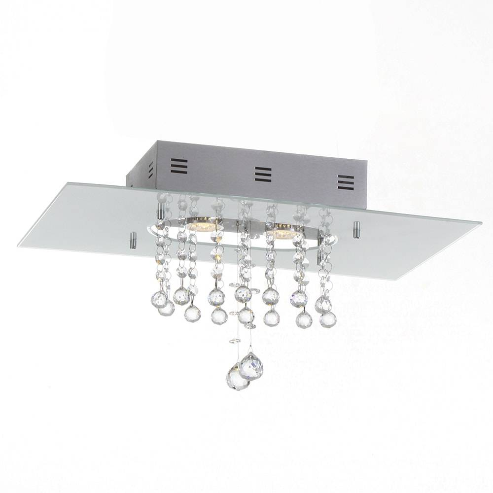 Plafon Valência com Cristais - p/ 2 Lâmpadas E27 - em Alumínio - 50x30 cm