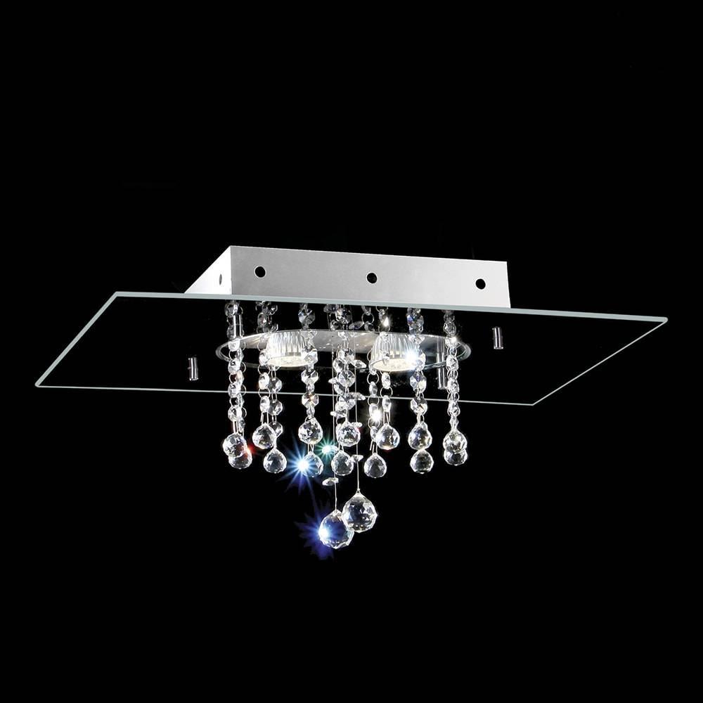 Plafon Valência Preto com Cristais - p/ 2 Lâmpadas G9 - em Alumínio - 50x30 cm