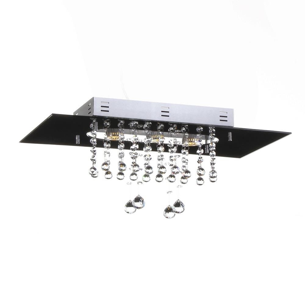 Plafon Valência Preto com Cristais - p/ 3 Lâmpadas E27 - em Alumínio - 60x30 cm