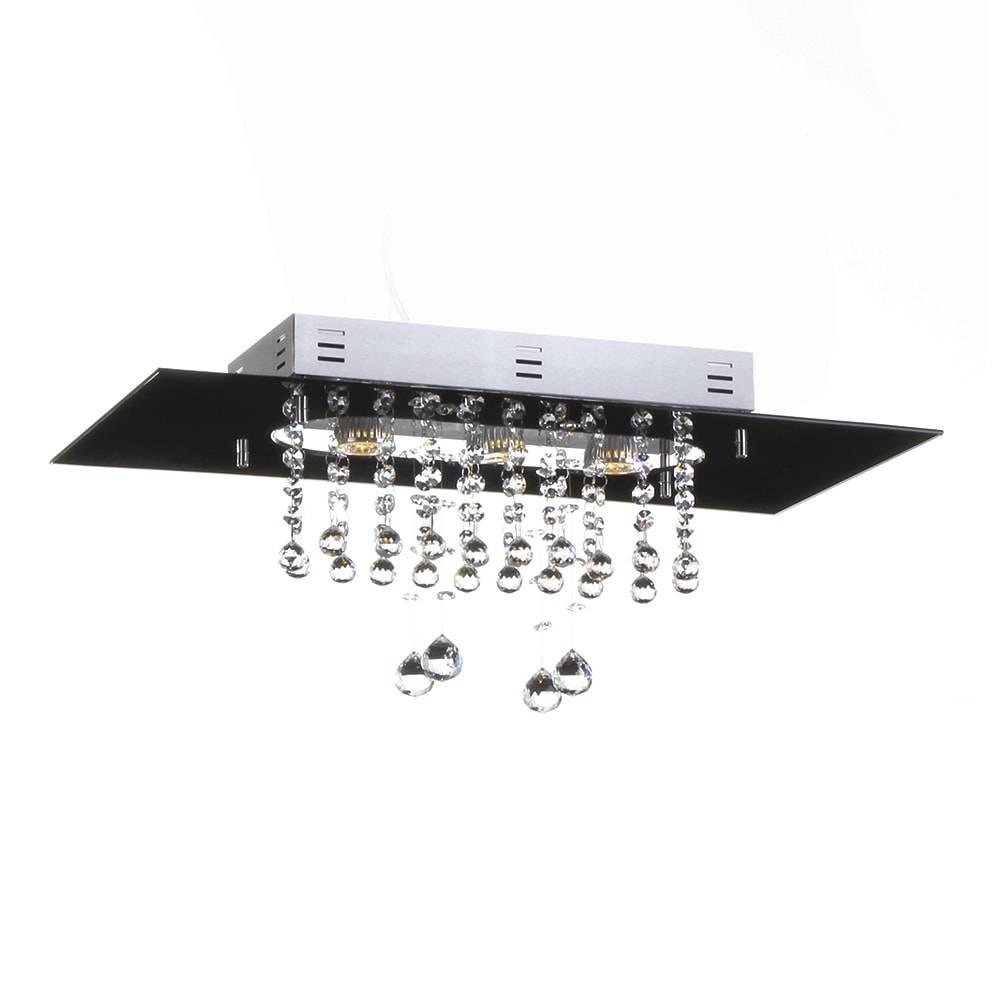 Plafon Valência Preto com Cristais - p/ 3 Lâmpadas GU10 - em Alumínio - 60x30 cm