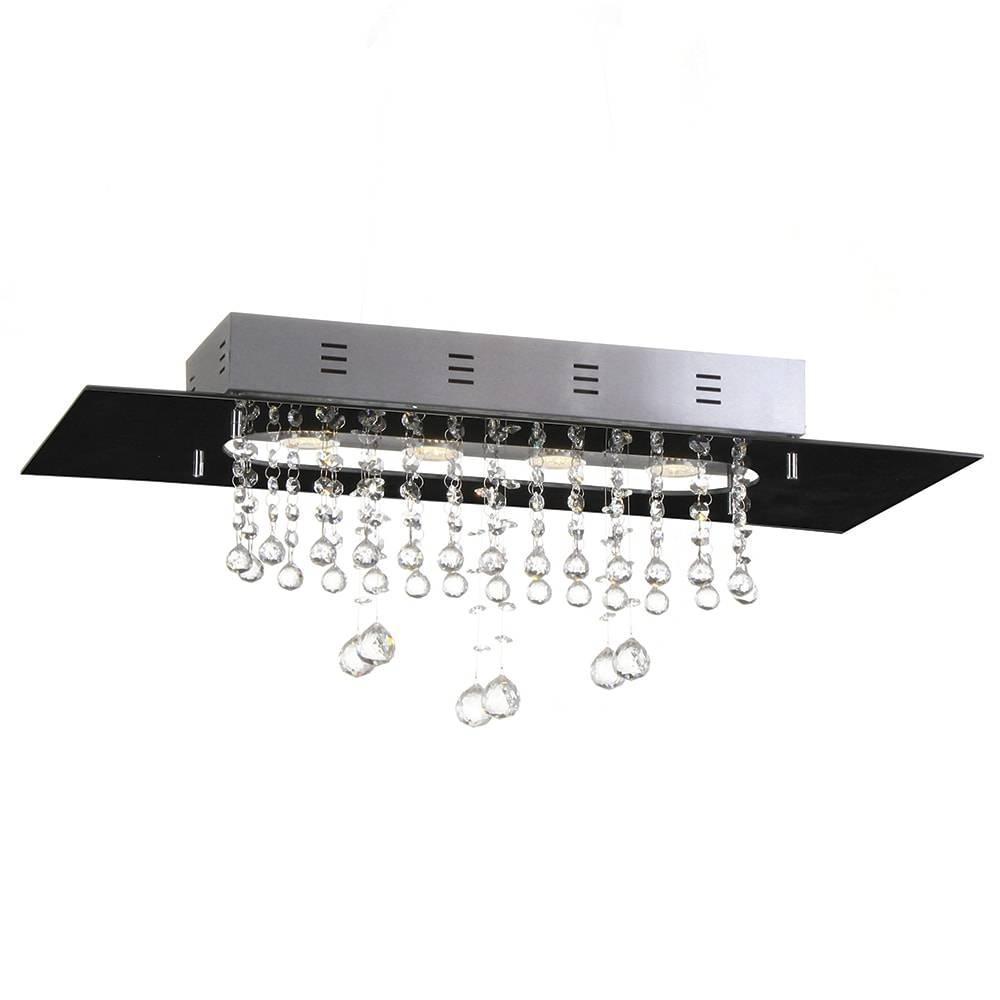 Plafon Valência Preto com Cristais - p/ 4 Lâmpadas E27 - em Alumínio - 70x30 cm