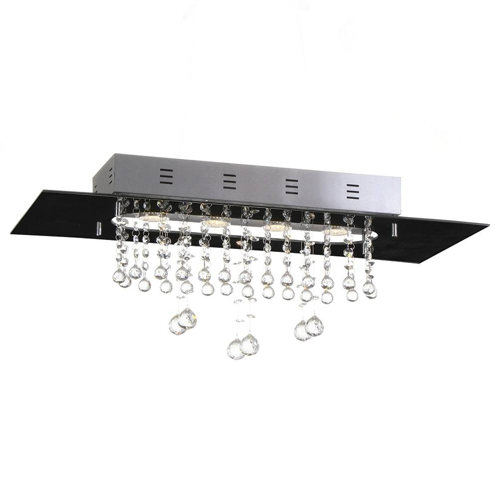 Plafon Valência Preto com Cristais - p/ 4 Lâmpadas GU10 - em Alumínio - 70x30 cm