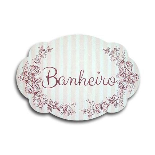 Plaquinha para Banheiro Rosa com Listras - 29x20 cm