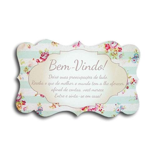 Plaquinha Bem Vindos Floral - 26x16 cm