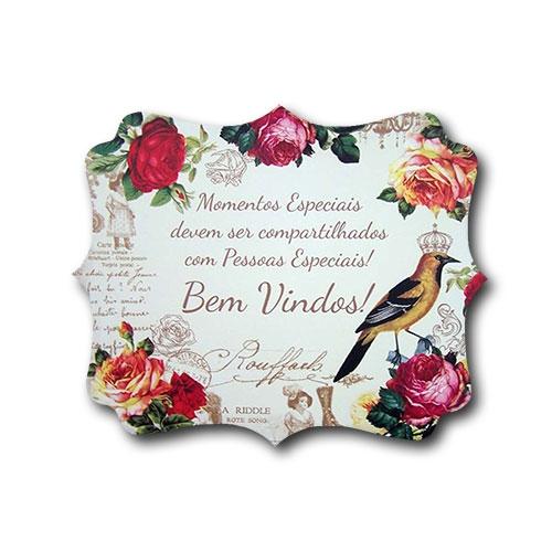 Plaquinha Bem Vindos Pássaro Rei - 24x20,3 cm