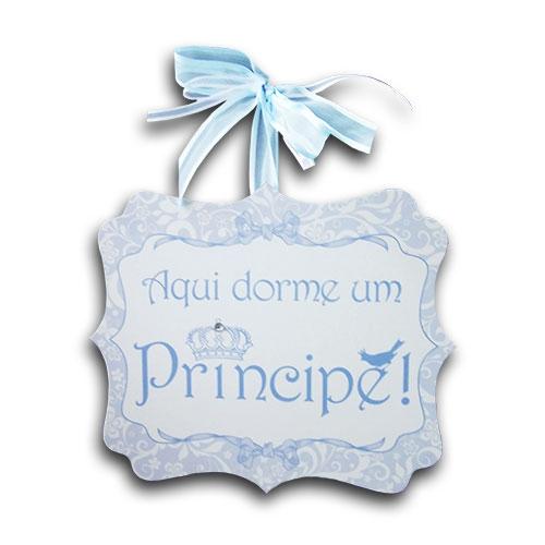 Plaquinha Móbile Aqui Dorme um Príncipe Quadrado - 24x20 cm