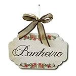 Plaquinha Móbile para Banheiro Provence com Fitinhas - 19x11,8 cm
