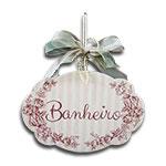 Plaquinha Móbile para Banheiro Rosa com Listras e Fitinhas - 19x13 cm