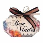 Plaquinha Móbile Bem Vindos Floral Vintage em MDF