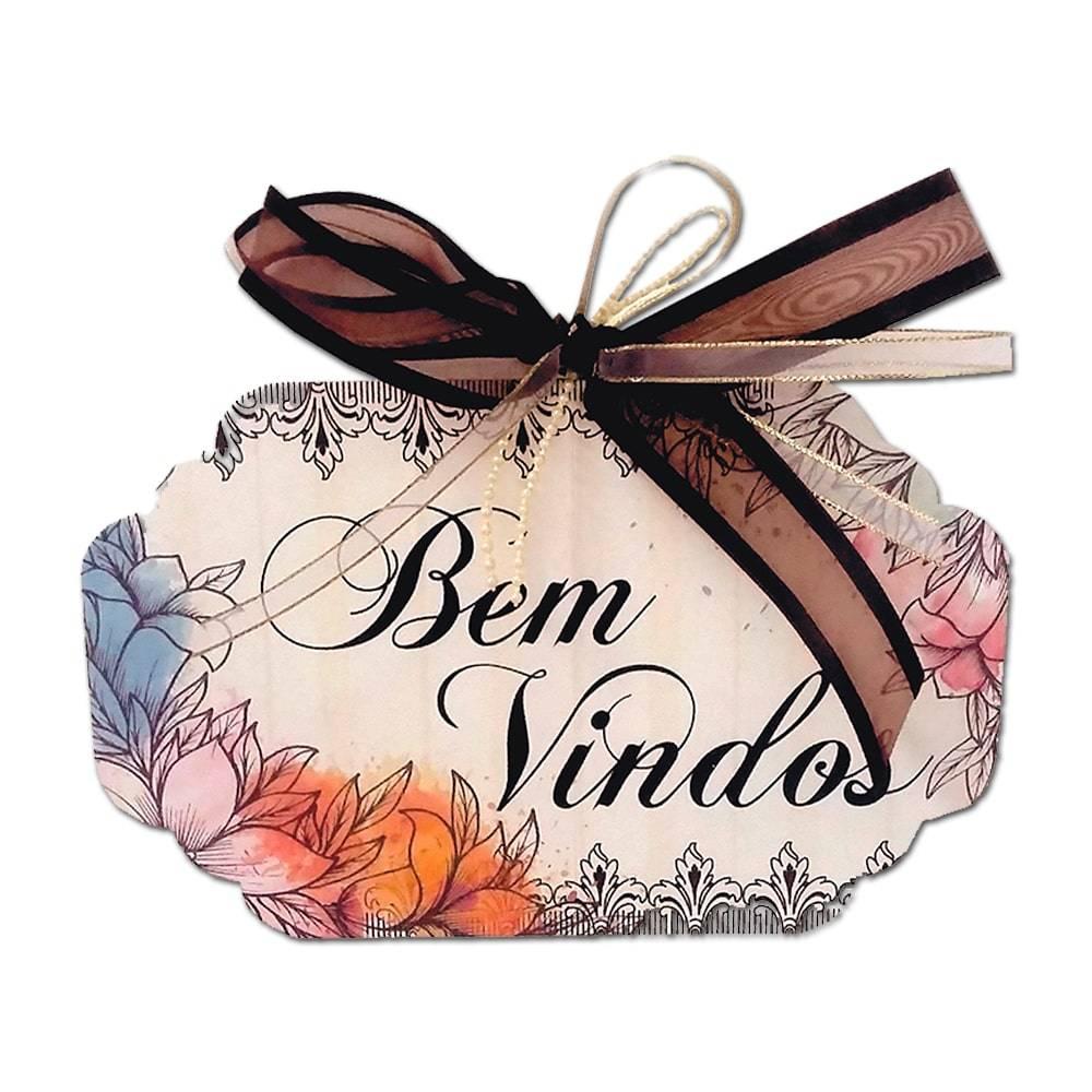 Plaquinha Móbile Bem Vindos Floral Vintage em MDF - 19x11 cm
