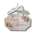 Plaquinha Móbile Bem Vindos Rosa com Fitinhas - 19x11,8 cm