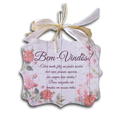 Plaquinha Móbile Bem-Vindos Boas Amizades - 17x14,5 cm