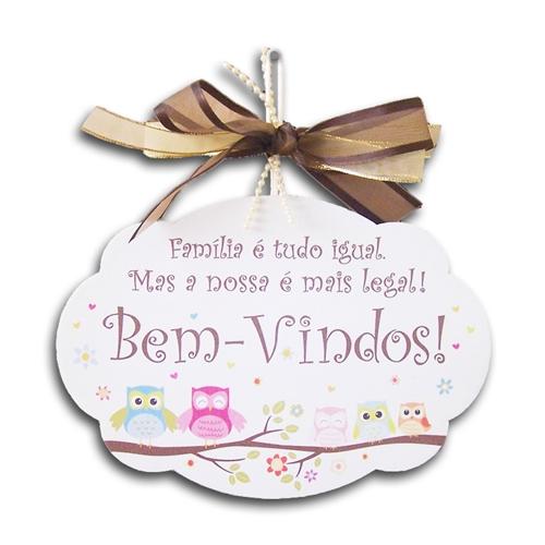 Plaquinha Móbile Bem-Vindos Corujinhas - 19x13 cm