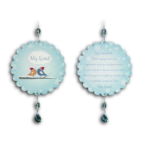Plaquinha Móbile Bola Pássaros Azuis - 13 cm