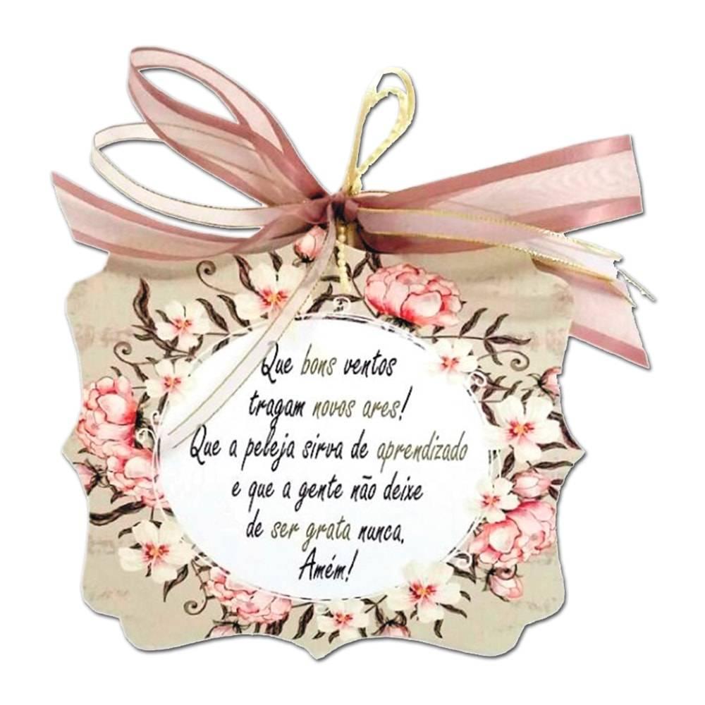 Plaquinha Móbile Bons Ventos c/ Fundo Floral em MDF - 17x14,5 cm