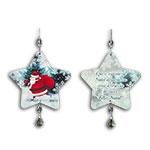 Plaquinha Móbile Estrela Papai Noel - 14x13,5 cm