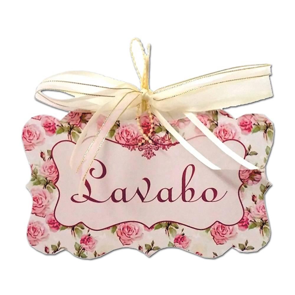 Plaquinha Móbile Lavabo c/ Fundo Floral em MDF - 19x11,7 cm
