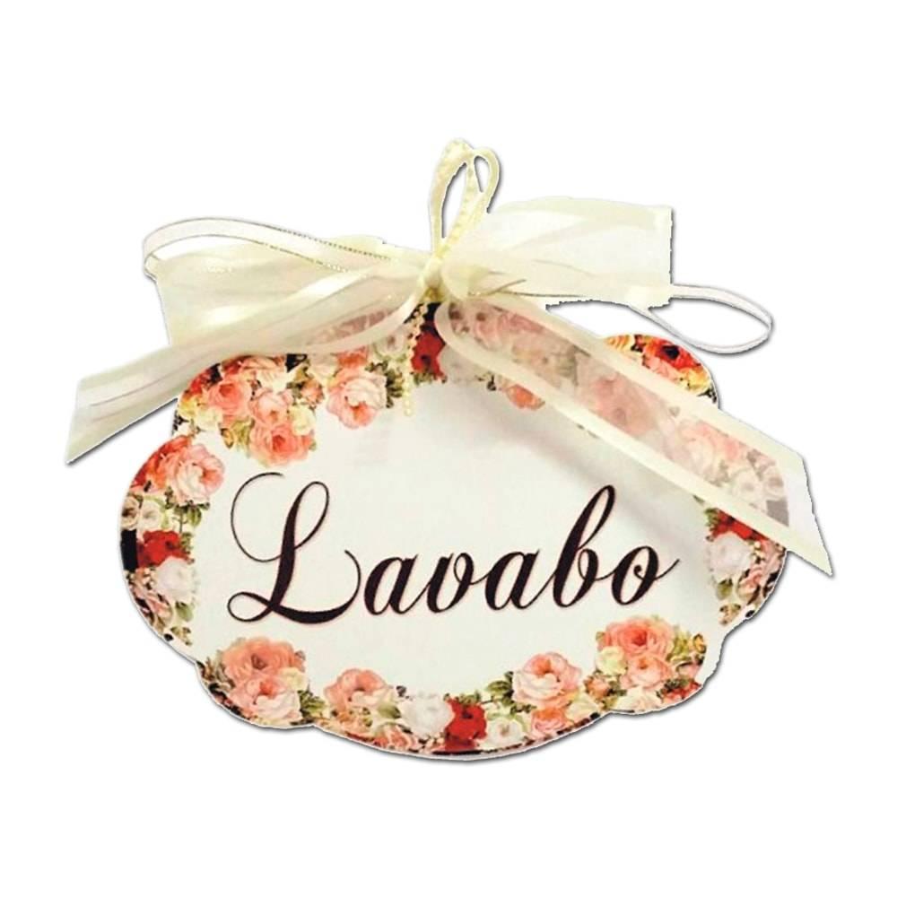 Plaquinha Móbile Lavabo Floral em MDF - 19x13 cm