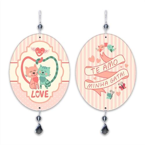 Plaquinha Móbile Love Gata em MDF - 13,5x10,5 cm
