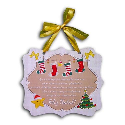 Plaquinha Móbile Meias de Natal - 24x20,3 cm
