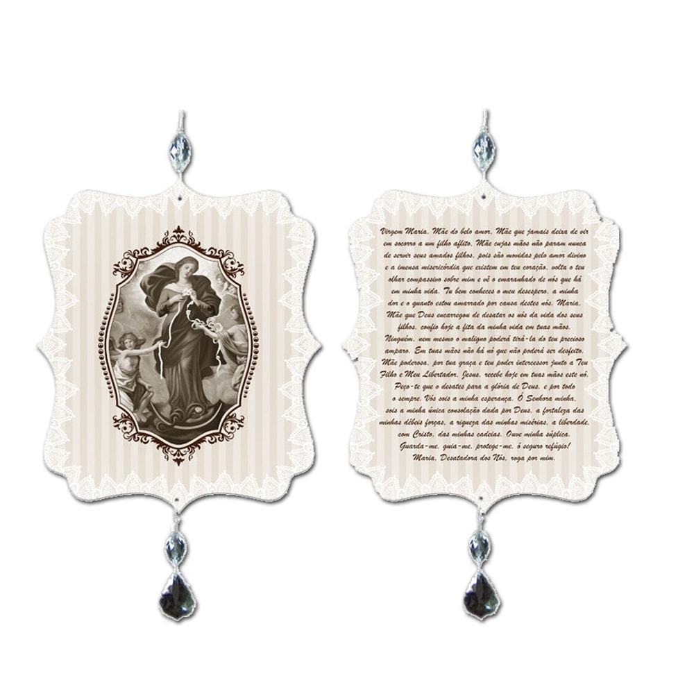 Plaquinha Móbile Oração Desatadora de Nós em MDF - 17,5x15 cm