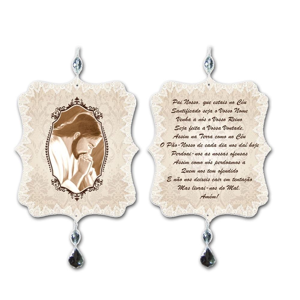 Plaquinha Móbile Oração Pai Nosso em MDF - 17,5x15 cm