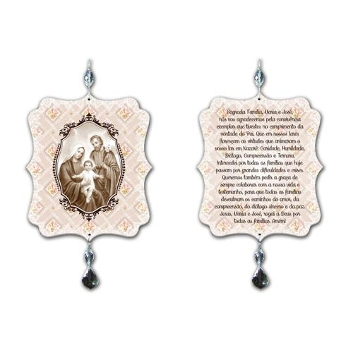 Plaquinha Móbile Oração Sagrada Família - 17,5x15 cm