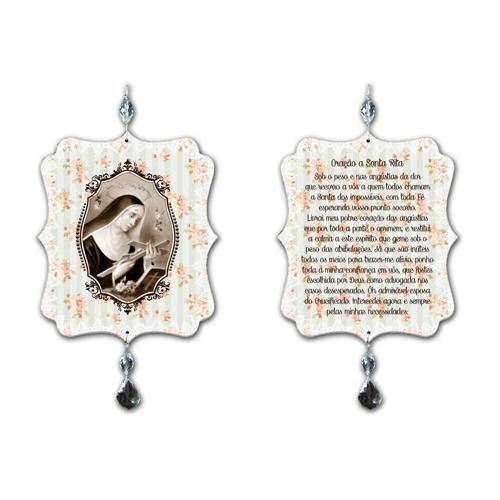 Plaquinha Móbile Oração Santa Rita - 17,5x15 cm