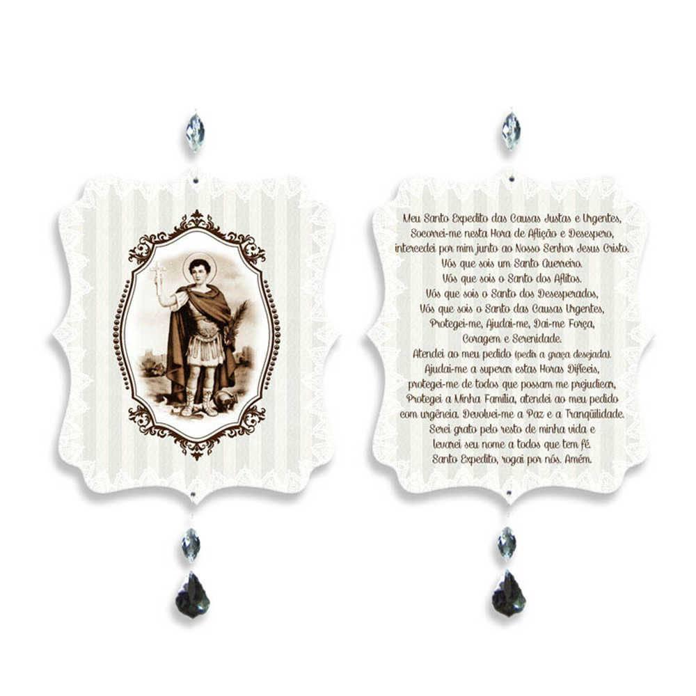 Plaquinha Móbile Oração Santo Expedito em MDF - 17,6x15 cm