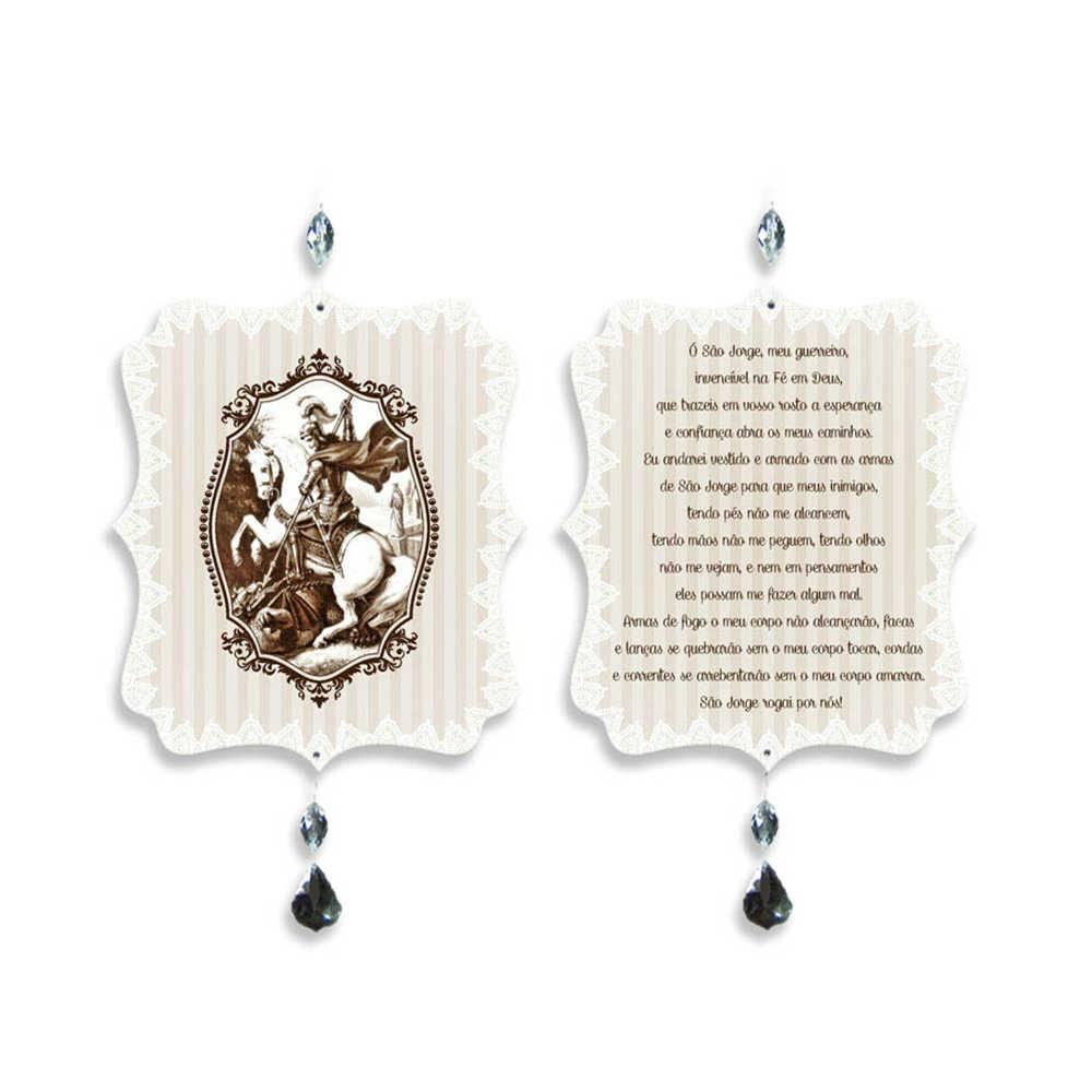 Plaquinha Móbile Oração São Jorge em MDF - 17,6x15 cm