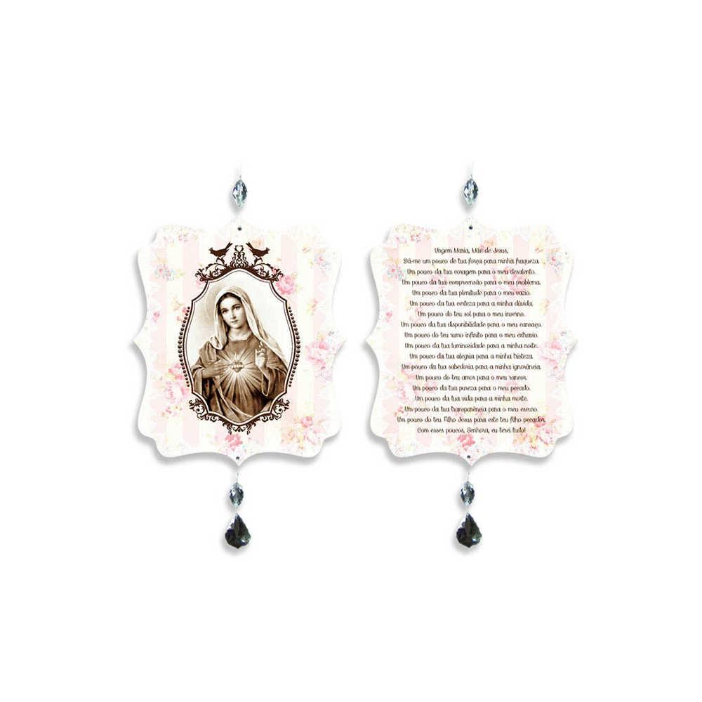 Plaquinha Móbile Oração Virgem Maria em MDF - 17,6x15 cm