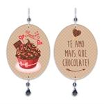 Plaquinha Móbile Oval Chocolate em MDF - 13,5x10,5 cm