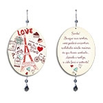 Plaquinha Móbile Oval Love Paris em MDF - 13,5x10,5 cm
