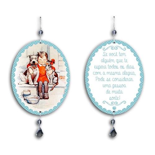 Plaquinha Móbile Oval Menina e Animais em MDF - 13,5x10,5 cm