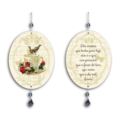 Plaquinha Móbile Oval Oração em MDF - 13,5x10,5 cm
