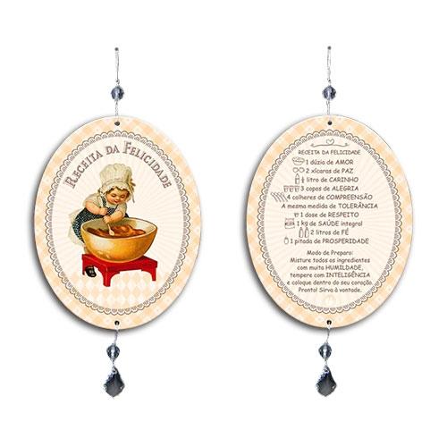 Plaquinha Móbile Oval Receita da Felicidade em MDF - 13,5x10,5 cm