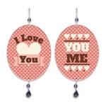 Plaquinha Móbile You And Me Vermelho em MDF - 13,5x10,5 cm