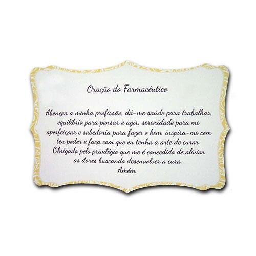 Plaquinha Oração do Farmacêutico - 27x18 cm