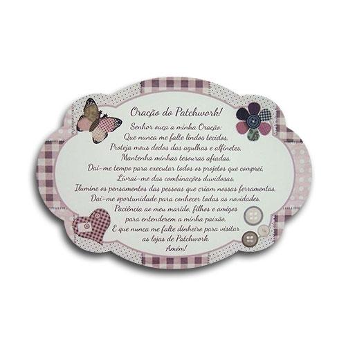 Plaquinha Oração do Patchwork Borboleta - 29x20 cm