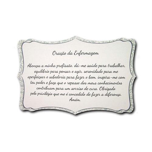 Plaquinha Oração da Enfermagem - 27x18 cm