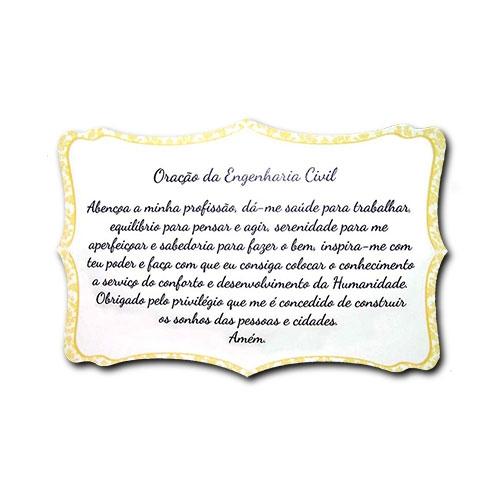 Plaquinha Oração da Engenharia Civil - 27x18 cm