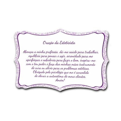 Plaquinha Oração da Esteticista - 27x18 cm