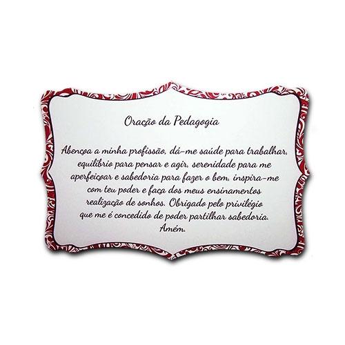 Plaquinha Oração da Pedagogia - 27x18 cm
