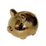 Porquinho Cerâmica Dourado