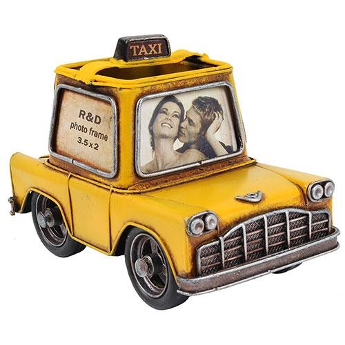 Porta Caneta/Retrato Taxi Amarelo em Metal Oldway - 20x14 cm