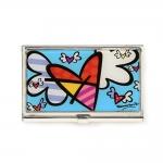 Porta Cartão Coração de Asas - Romero Britto - Colorido com Acabamento em Vidro Estrutura em Metal - 9x6 cm