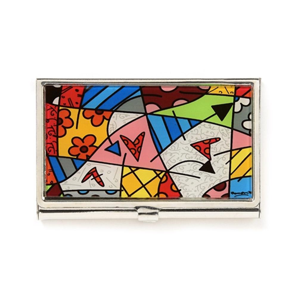 Porta Cartão Love - Romero Britto - Colorido c/ Acabamento em Vidro Estrutura em Metal - 9x6 cm
