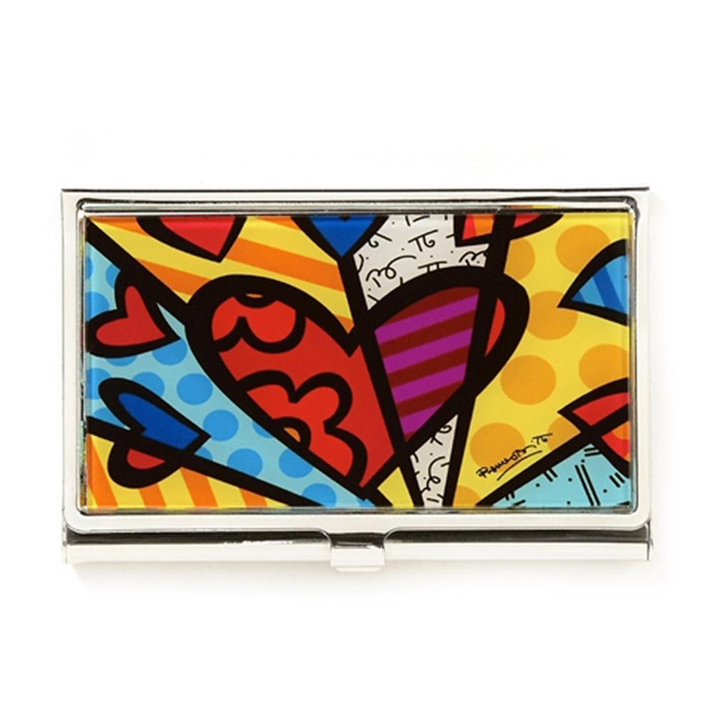 Porta Cartão New Day - Romero Britto - com Acabamento em Vidro Estrutura em Metal - 9x6 cm