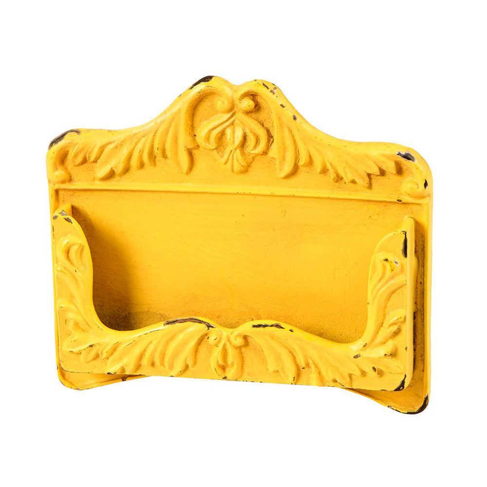 Porta Cartas Arabescos Amarelo Pátina em Metal - 11x10 cm