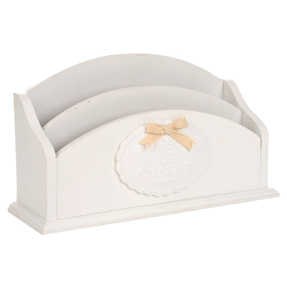 Porta Cartas Maison de Charme Branco em Madeira - 27x15 cm